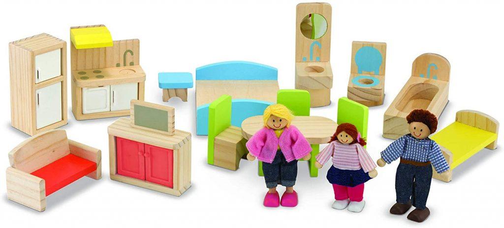 Accessoires fournis avec la grande maison de poupée en bois - modèle 12462 - marque Melissa & Doug