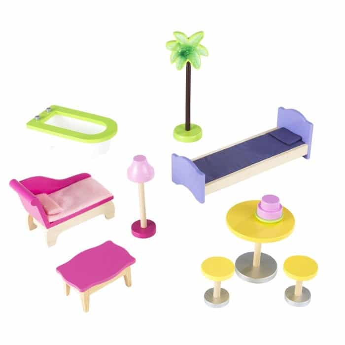 Les accessoires vendus avec la maison de poupée en bois KAYLA de la marque Kidkraft