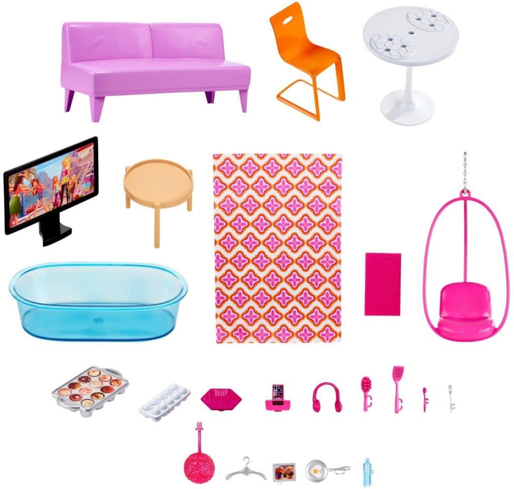 Accessoires fournis avec la Maison de Barbie de Luxe