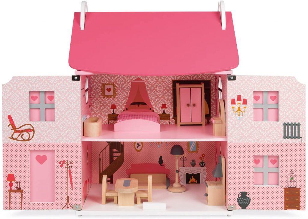 Intérieur de la maison de poupée valise Mademoiselle, de la marque Janod.