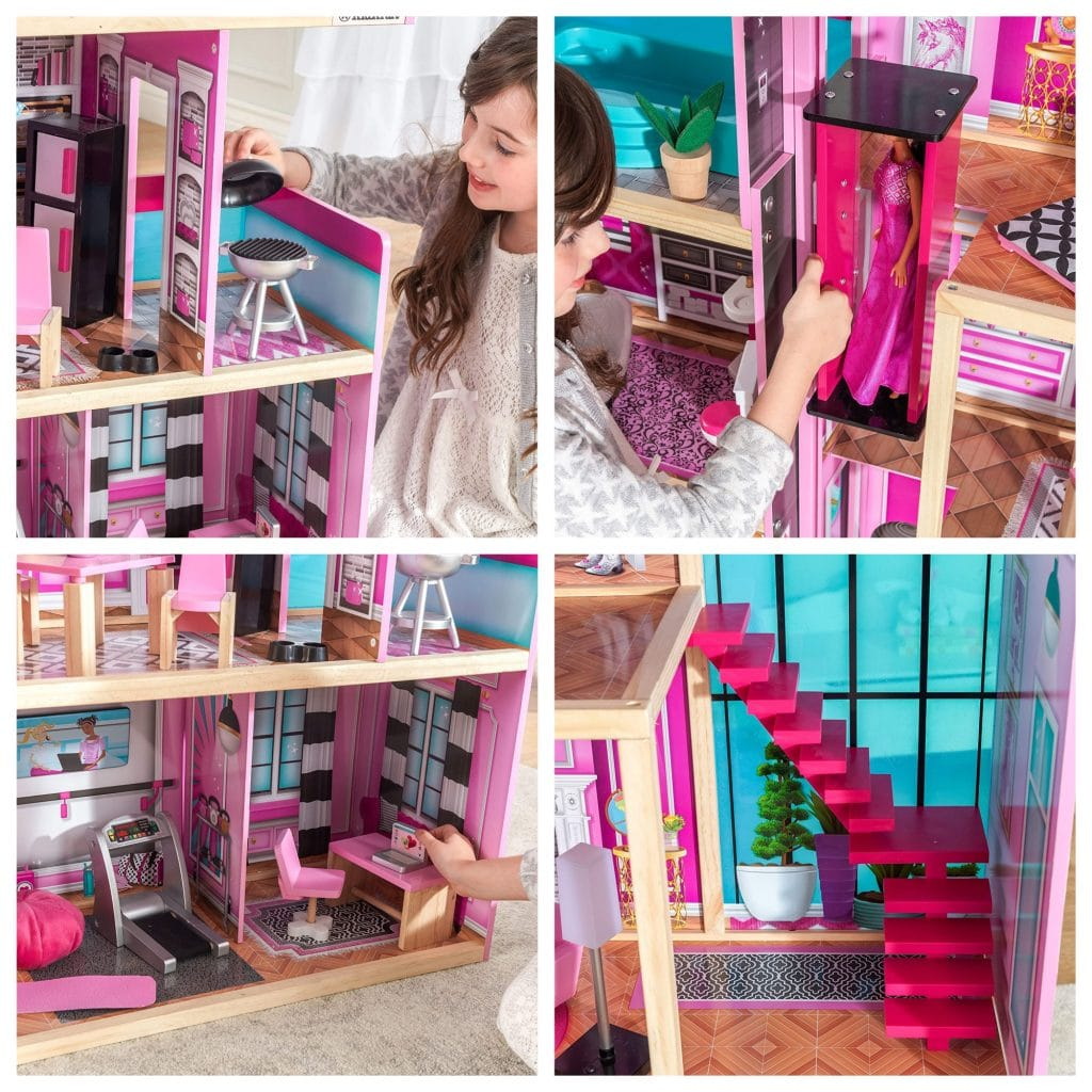 Présentation des différents espaces de jeu de la maison de poupée SHIMMER par Kidkraft